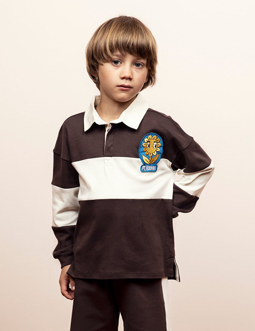 [MINI RODINI] Rugby shirt -LE _ Brown[80/86, 104/110, 116/122, 128/134, 140/146]