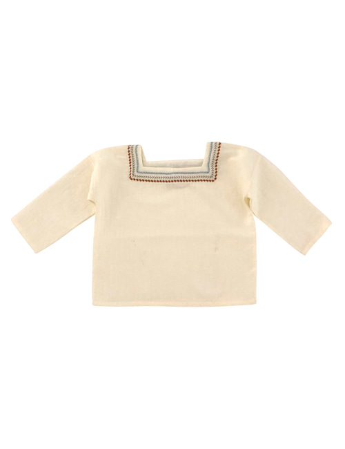 [LIILU KIDS] Folk oversize shirt_ Milk[ 8-10Y]