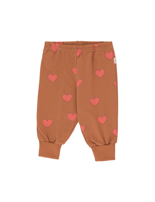 "[Tiny Cottons] ""HEARTS"" SWEATPANT _ cinnamon/light red[12M, 18M]"