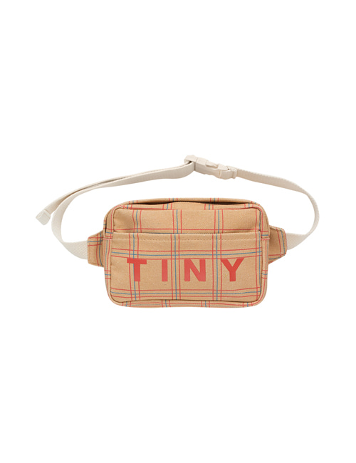 "[Tiny Cottons] ""CHECK"" FANNY BAG _ toffee/red"