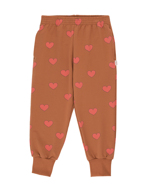 "[Tiny Cottons] ""HEARTS"" SWEATPANT _ cinnamon/light red[4Y, 10Y]"