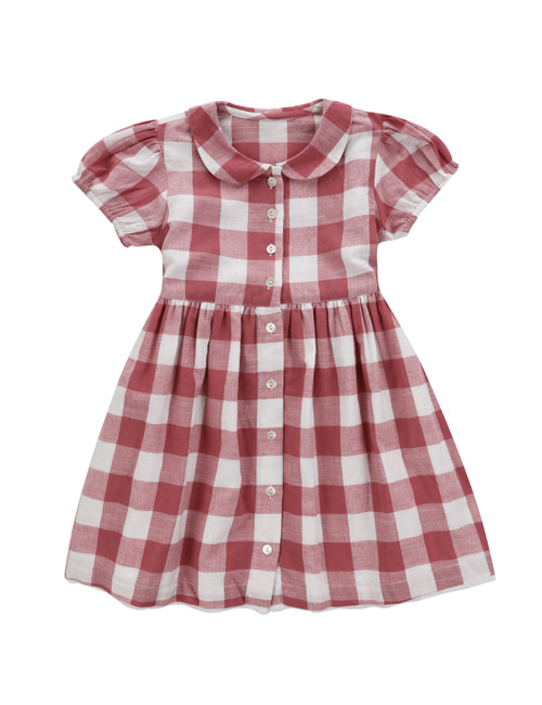 [LITTLE COTTON CLOTHES]Audrey Dress Textured Gingham In Mulberry  [2-3y]
