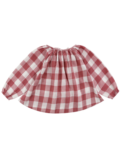 [LITTLE COTTON CLOTHES]Olive Smock Textured Gingham In Mulberry  [2-3y, 4-5y, 6-7y]