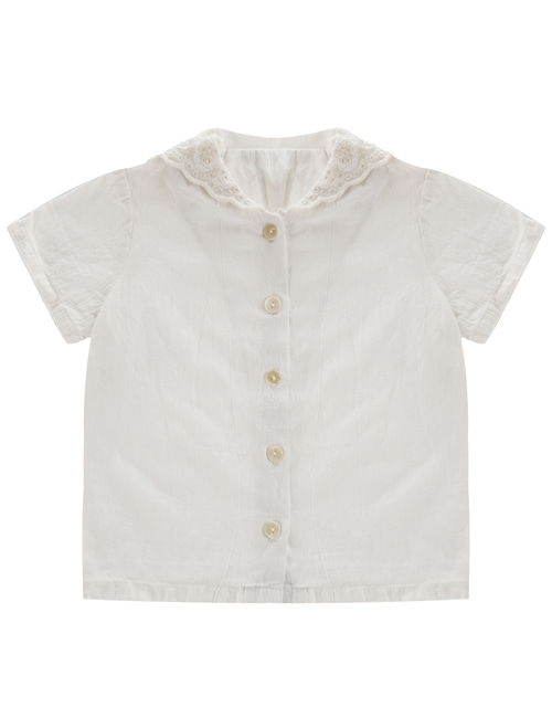 [LITTLE COTTON CLOTHES]Ethel Blouse Short Sleeve Lace White Collar  [4-5y, 5-6y, 6-7y, 7-8y]