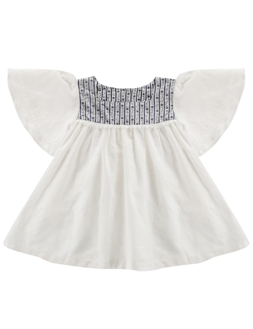 [LITTLE COTTON CLOTHES]Laura Blouse White with Blue Floral Yoke  [2-3y, 5-6y, 6-7y]