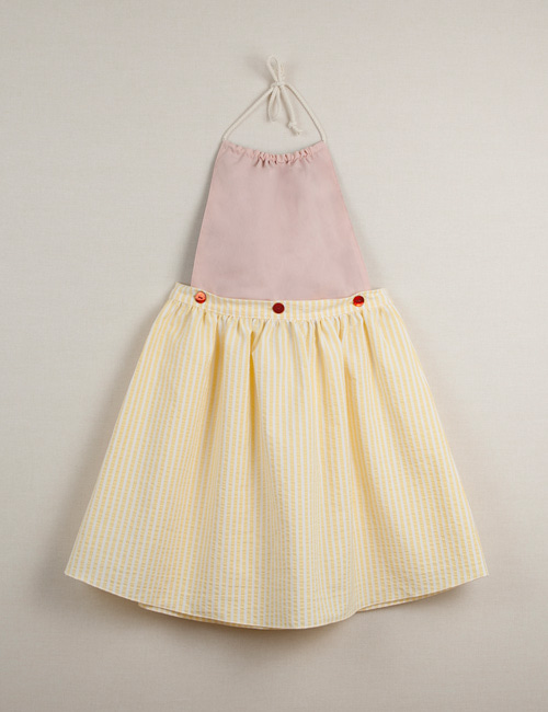 [Popelin Kids]Reversible dress with removable bib and yellow stripes[3-4y, 4y, 6y, 8y]