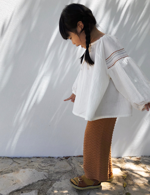 [LIILU] Knit pants _ Terracotta [8-10Y]