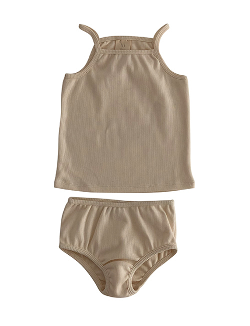 [LIILU] Rib underwear set - Milk [6-8Y]