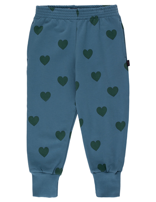 "[TINY COTTONS]  ""HEARTS"" SWEATPANT _ sea blue/dark green [4Y, 6Y, 8Y, 10Y, 12Y]"