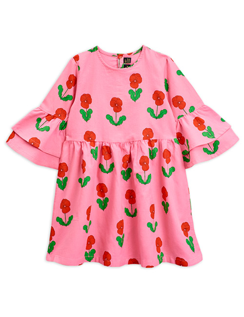 [MINIRODINI]Violas woven flared sleeve dress_Pink[92/98]