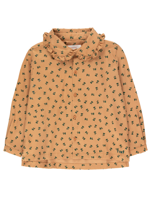 "[TINY COTTONS]  ""TINY FLOWERS"" SHIRT _ light brown/dark green [4Y]"