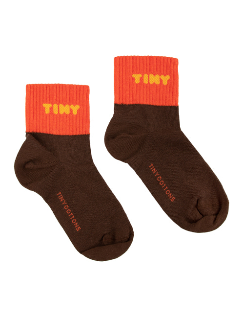"[TINY COTTONS]  ""TINY"" QUARTER SOCKS _ ultra brown/red [4Y, 6Y, 8Y]"
