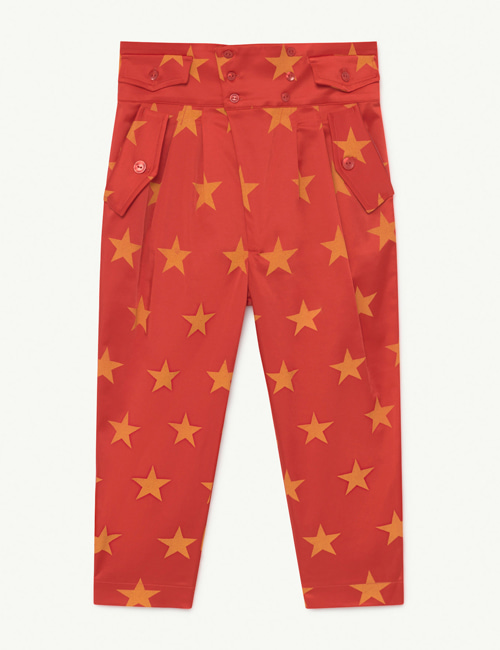[T.A.O] CAMEL SATIN KIDS TROUSERS RED STARS [4Y]