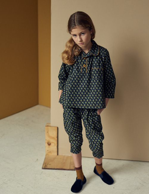 [CARAMEL] WOODPIDGEON TROUSERS_ BLACK/YELLOW SMALL FLORAL [4y, 6y, 8y]