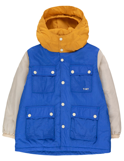 [TINY COTTONS] COLOR BLOCK PARKA _ blue/cappuccino [8Y, 10Y]