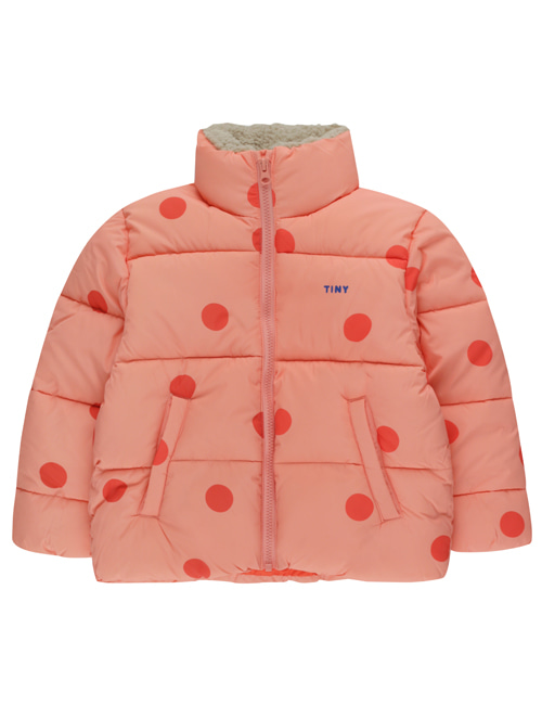 "[TINY COTTONS] ""BIG DOTS"" PADDED JACKET _ peachy red/red [12Y]"