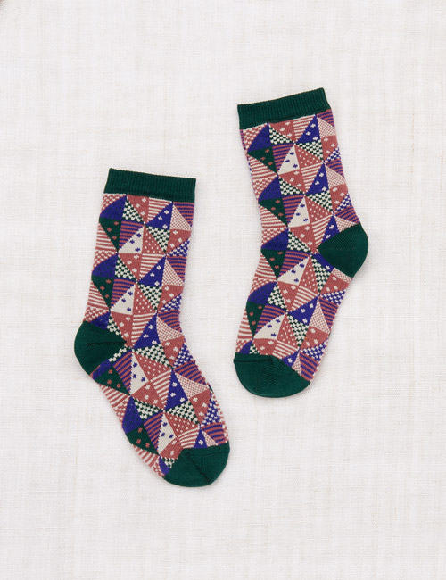 [MISHA AND PUFF]Patchwork Crew Socks _ Violet [28/31]