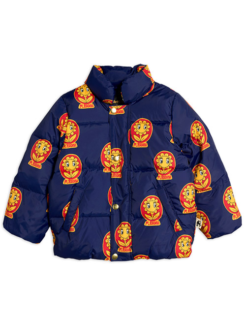 [MINI RODINI]MR flower puffer jacket_Navy [80/86, 92/98, 104/110, 116/122, 140/146]