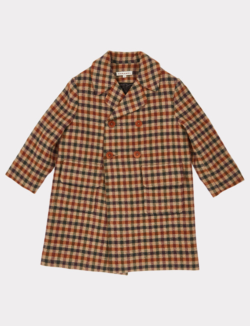 [CARAMEL] EAGLE COAT _ BEIGE WOOL CHECK [4y, 6y, 10y, 12y]