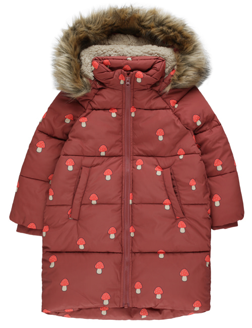 "[TINY COTTONS] ""MUSHROOMS"" PADDED JACKET _ dark brown/red [4Y, 8Y]"