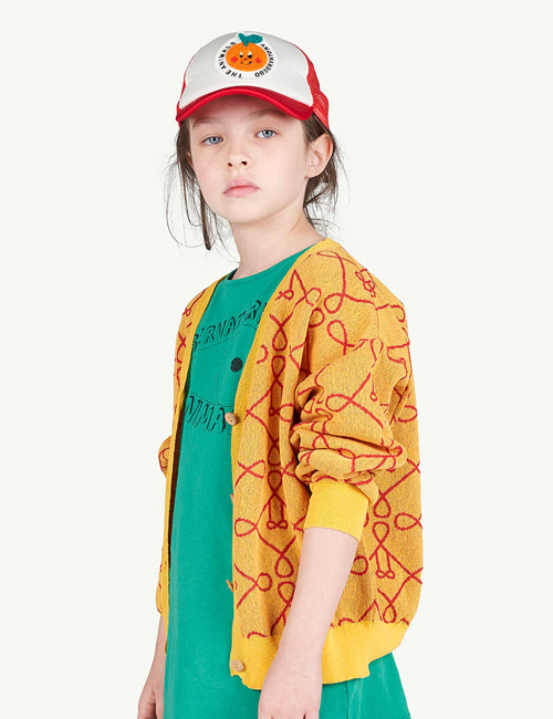 [T.A.O]LOGO RACOON KIDS CARDIGAN _ YELLOW [3Y]