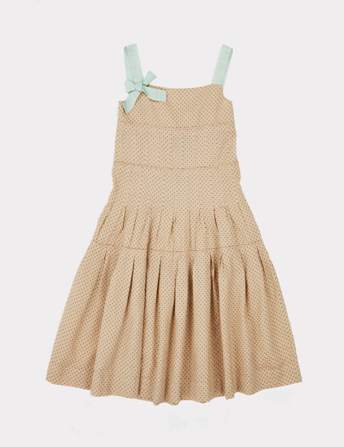 [CARAMEL]ANGEL DRESS _ GREEN POLKA DOT  [6y]