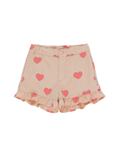 "[Tiny Cottons] ""HEARTS"" FRILLS SHORT _ light nude/red[6Y, 10Y]"