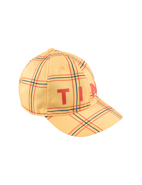 "[Tiny Cottons] ""CHECK"" CAP _ yellow/red [L]"