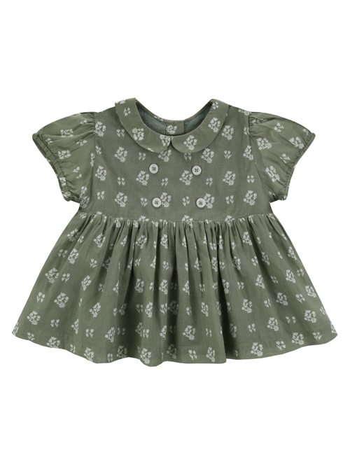 [LITTLE COTTON CLOTHES]Isabella Blouse Seedum Green Floral  [4-5y, 6-7y]