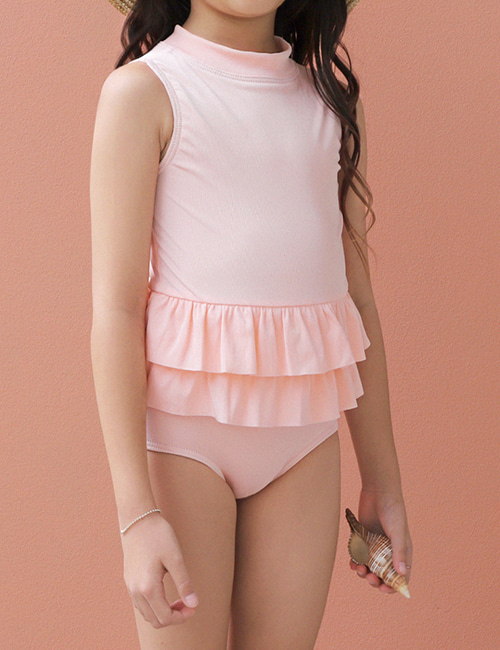 [OLIVIALEE] One-Piece Ruffle Swimsuit _ Ribbed Peach