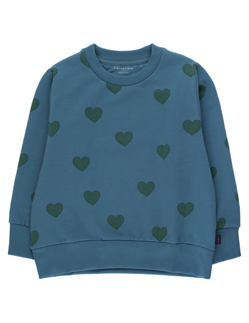 "[TINY COTTONS]  ""HEARTS"" SWEATSHIRT _ sea blue/dark green [2Y, 4Y, 6Y, 8Y, 10Y, 12Y]"