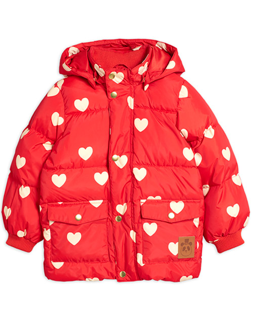 [MINIRODINI]Hearts pico puffer jacket_Red [140/146]