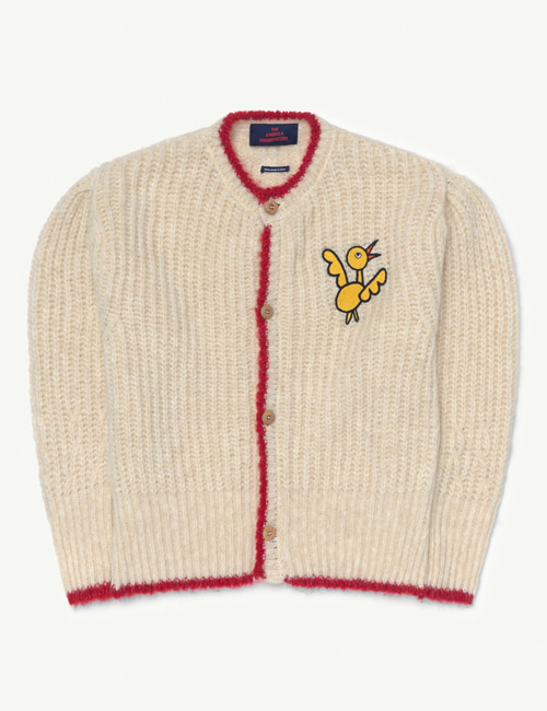 [T.A.O] PARROT KIDS CARDIGAN White Bird