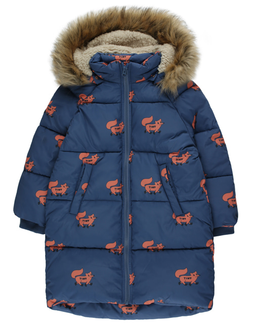 "[TINY COTTONS] ""FOXES"" PADDED JACKET _ light navy/sienna [2Y, 4Y, 6Y, 8Y]"