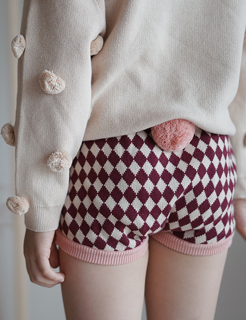 [MES KIDS DES FLEURS] diamond-pattern shorts _ Pink [L]