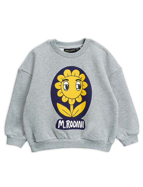 [MINI RODINI]Flower sp sweatshirt_Grey melange[104/110, 116/122, 128/134]