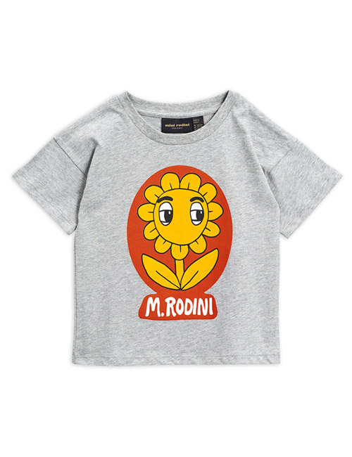 [MINI RODINI]Flower sp ss tee_Grey melange[116/122, 128/134]