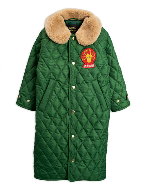[MINI RODINI]Diamond quilted coat_Dark green[92/98]