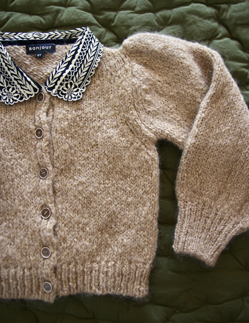 [BONJOUR DIARY] Cardigan with embroidered collar _ Natural